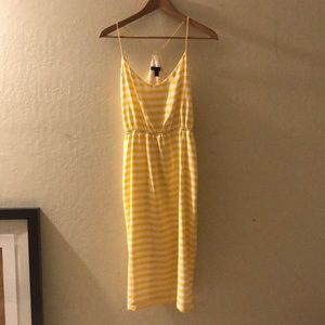 Yellow stripe midi dress